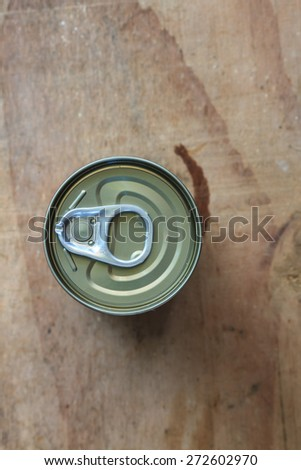 Closeup shot from the pull ring on a beverage can, opened aluminum can - stock photo