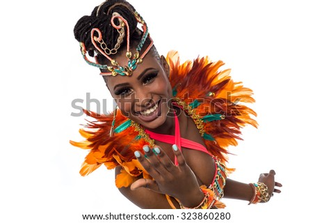 Closeup shot of a gorgeous female samba dancer - stock photo