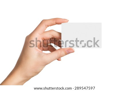 Closeup shot of a woman hand holding blank business card isolated on white background. Close up hand showing visit card.
