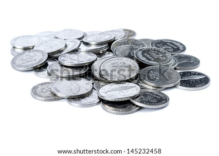 Closeup shot of Croatian metal coins. Mostly coins worth two Kunas. - stock photo