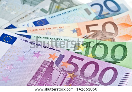 Closeup shot of euro banknotes - stock photo