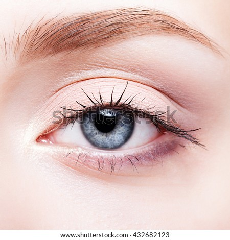 Closeup shot of female face makeup with blue eye