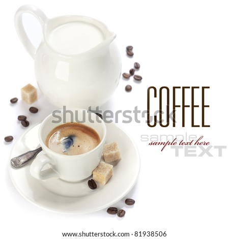 Closeup shot of freshly prepared cup of italian espresso and milk over white (with sample text) - stock photo