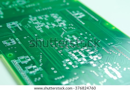 Closeup Shot of New Printed Circuit Board Prior to SMD and DIP Componentry Mounting. Horizontal Image Composition - stock photo