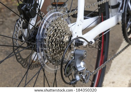 closeup shot of rear mechanic part of a bicycle. - stock photo