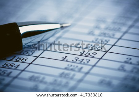 Closeup shot of the numbers on the balance sheet. - stock photo