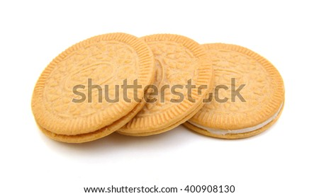 closeup shot of vanilla cookies on white background