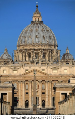 closeup shot of Vatican City from Ponte Umberto I in Rome, Italy - stock photo