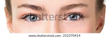 Closeup shot of woman eye with day makeup - stock photo