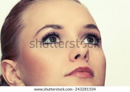 Closeup shot of woman eyes with makeup. Toned - stock photo