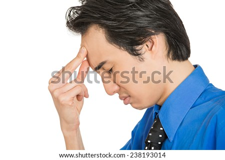 Closeup side profile portrait, headshot sad depressed, alone, disappointed gloomy young man resting his head on hand having suicidal thoughts isolated white background. Human emotion facial expression - stock photo