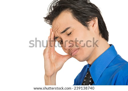 Closeup side profile portrait sad unhappy young business man eyes closed troubled isolated on white background. Negative human face expression emotions feelings life perception - stock photo