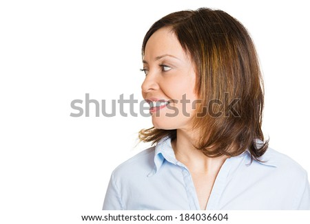 Closeup side view profile headshot portrait, smiling, handsome, confident, young business woman, isolated white background. Positive human emotion, feeling, expressions, attitude, perception - stock photo