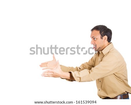 Closeup side view profile portrait of angry, mad, furious man, worker, employee, businessman in brown shirt raising hands threatening in air, isolated on white background. Human emotions, expressions - stock photo