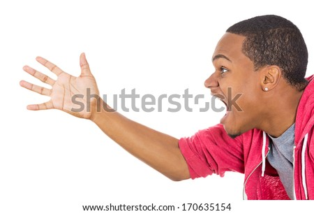 Closeup side view profile portrait of angry upset young man, worker, business employee, hands spread in air,open mouth yelling, isolated on white background. Negative emotion facial expression feeling - stock photo