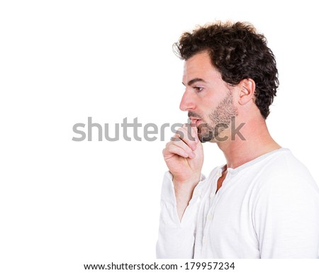 Closeup, side view profile portrait of man with finger in mouth, sucking thumb, biting fingernail in stress, deep thought, isolated on white background. Negative emotion, facial expression, feelings - stock photo