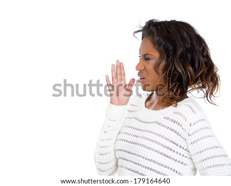 Closeup side view profile portrait of young woman,disgust on face, wafting nose, something stinks, very bad smell, situation, isolated on white background. Negative emotion facial expression feeling - stock photo