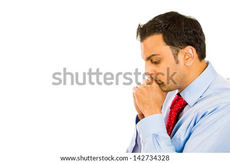 Closeup side view profile portrait, sad, bothered, stressed, serious, young man hands on face, really depressed about something, isolated white background. Negative emotion facial expression feeling - stock photo