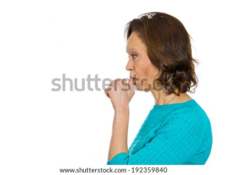 Closeup, side view profile portrait senior mature woman with finger in mouth, sucking thumb biting fingernail, stress, isolated white background. Negative emotion, facial expression, feeling, reaction - stock photo
