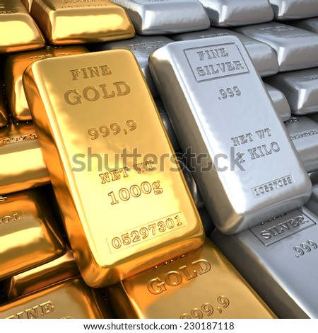 Closeup silver ingots and  golden bullions in bank vault. Finance 3d illustration - stock photo