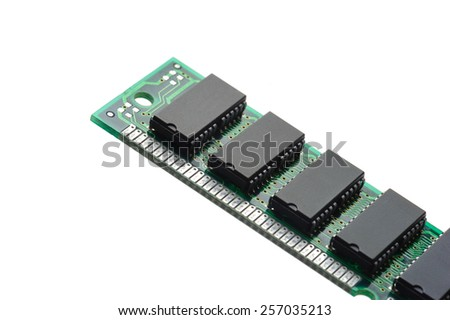 closeup SIMM 72-pin RAM isolated on white background