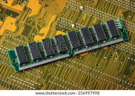 closeup SIMM 72-pin RAM (Old technology) - stock photo