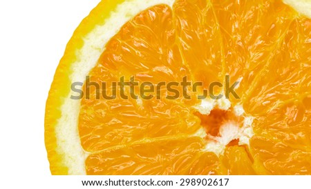 Closeup slice of orange fruit  background.