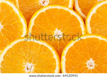 closeup  slice of oranges,  background - stock photo