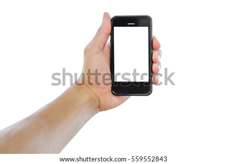 Closeup  smart-phone and hand on white background