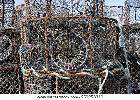 Closeup stack of lobster pot in french Brittany