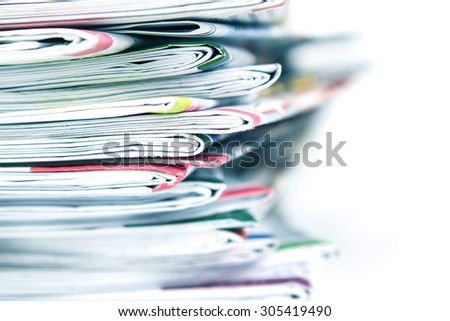 closeup stack of the newspaper