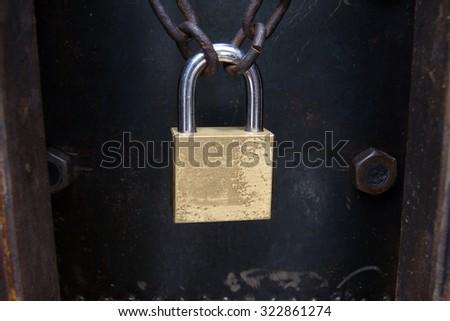 Closeup steel Door door with lock - stock photo