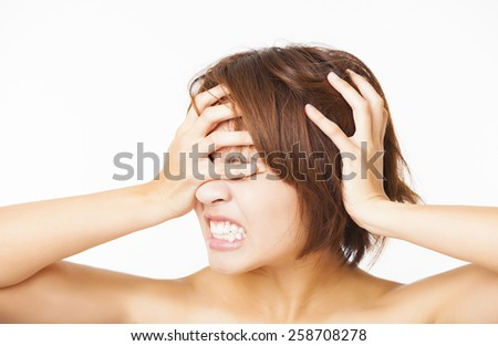Closeup stressed young woman and yelling screaming - stock photo