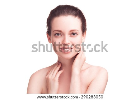 closeup studio portrait of beautiful woman isolated over white background - stock photo