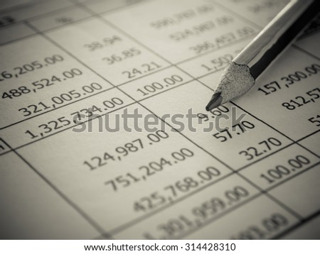 closeup summary report with pencil. selective focus. Accounts concept. - stock photo