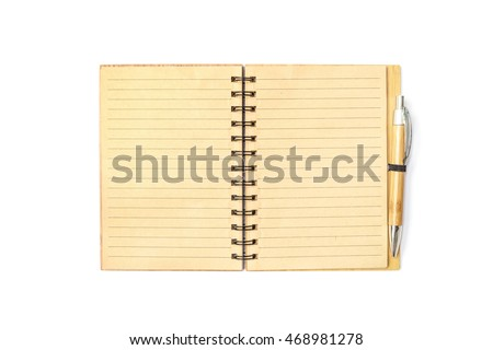 Closeup surface brown note book with line in page with brown pen isolated on white background