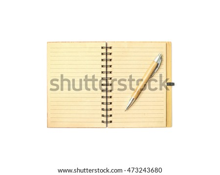 Closeup surface brown note book with line in two page with brown pen isolated on white background