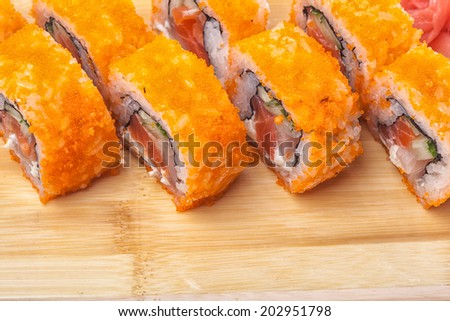 closeup Sushi on wooden background