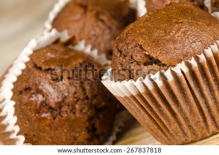 Closeup take of some homemade chocolate muffins - stock photo
