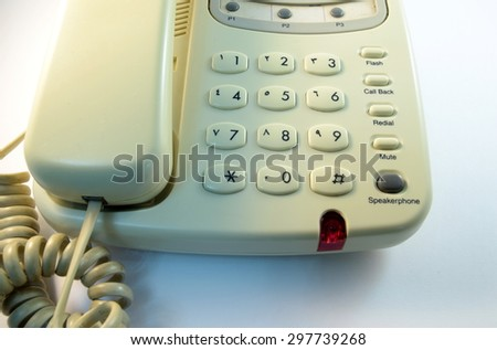 closeup Telephone number pad in white background - stock photo