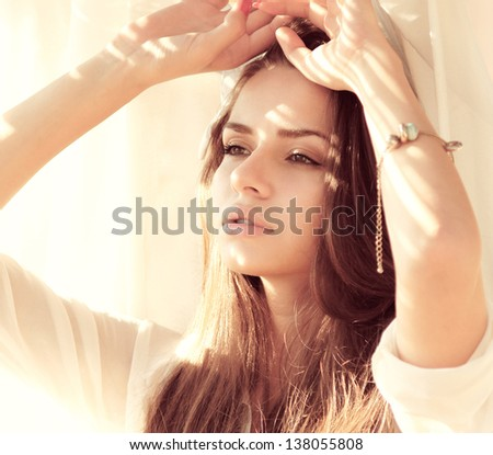 closeup tender outdoor portrait of young sensual woman - stock photo