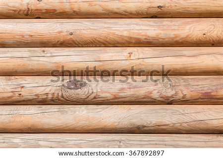 Closeup texture of the walls made of logs in the sun, background