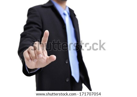 closeup the finger of businessman touching on white background