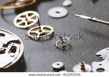 closeup the parts of automatic wristwatch - stock photo