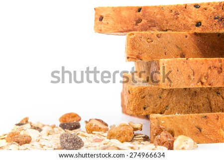 closeup the rim of cereal and black sesame bread stacking by selective focus - stock photo