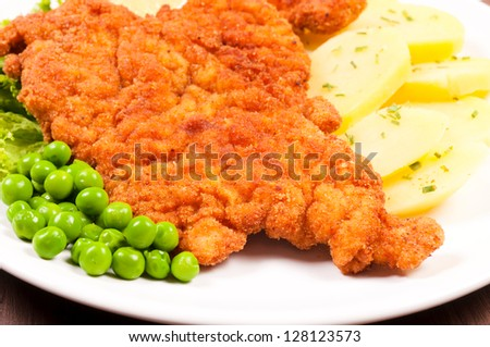 Closeup to a wiener schnitzel on plate