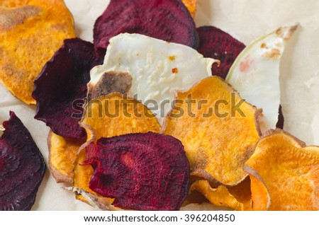 closeup to vegetarian vegetables chips