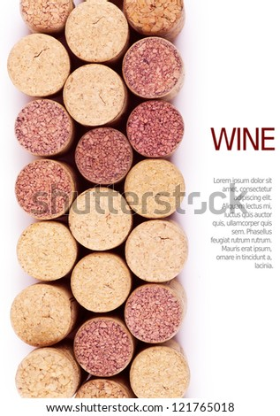 Closeup top view of wine corks over white background - stock photo