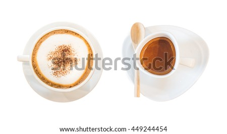 Closeup two white cup of coffee isolated on white background. Top view.