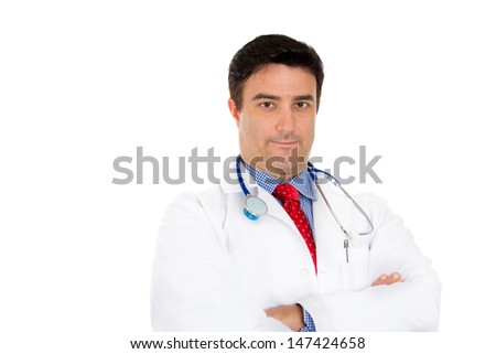 Closeup up portrait of smiling healthcare professional, doctor, nurse with stethoscope and arms folded, isolated on white background with copy space